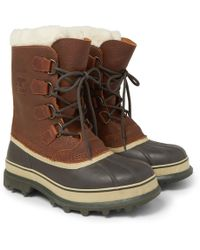 Sorel - Caribou Shearling-lined Waterproof Leather Snow Boots - Lyst
