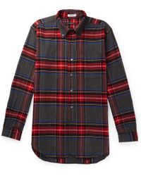 Engineered Garments - Button-down Collar Checked Brushed Cotton-flannel Shirt - Lyst