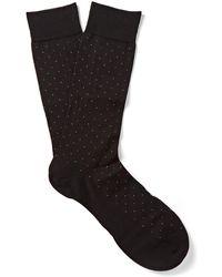 Pantherella - Pin-dot Cotton-blend Lisle Socks - Lyst
