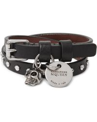 Alexander McQueen - - Studded Leather Wrap Bracelet - Black - Lyst