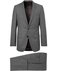 BOSS - Grey Slim-fit Mélange Super 130s Virgin Wool Suit - Lyst