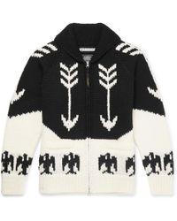 Neighborhood - Intarsia Wool Zip-up Cardigan - Lyst