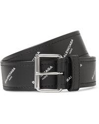 Balenciaga   3.5cm Black Printed Leather Belt   Lyst