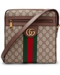 f6fc0fe3a0f Gucci - Ophidia Leather-trimmed Monogrammed Coated-canvas Messenger Bag -  Lyst