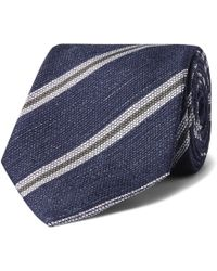 Kingsman - + Drake's 8cm Striped Silk And Linen-blend Tie - Lyst