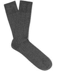 John Smedley - Ribbed Sea Island Cotton-blend Socks - Lyst