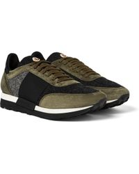 Moncler - Horace Suede And Felt Trainers - Lyst
