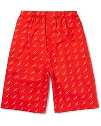 Balenciaga - Printed Cotton-poplin Shorts - Lyst