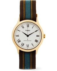 Timex - Archive Whitney Avenue Gold-tone And Striped Grosgrain Watch - Lyst