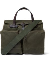 Filson - 24-hour Leather-trimmed Coated-canvas Briefcase - Lyst