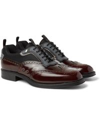 Prada - Rubber-trimmed Spazzolato Leather And Mesh Wingtip Brogues - Lyst
