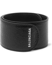 Balenciaga - Logo-print Textured-leather Snap Bracelet - Lyst