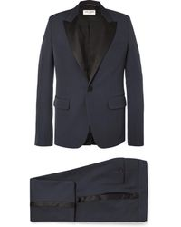 Saint Laurent - Navy Slim-fit Satin-trimmed Virgin Wool Tuxedo - Lyst