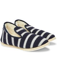 Armor Lux - Shearling-lined Striped Wool Slippers - Lyst