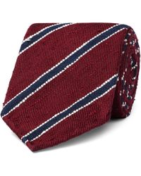 Drake's - 8cm Striped Slub Silk-twill Tie - Lyst