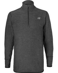 New Balance - Transit Mélange Stretch-jersey Half-zip Top - Lyst