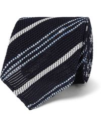 Drake's - 8cm Striped Silk And Linen-blend Tie - Lyst