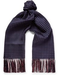Emma Willis - Fringed Polka-dot Silk-twill Scarf - Lyst