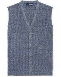 Lardini | Ribbed Mélange Cotton And Linen-blend Vest | Lyst