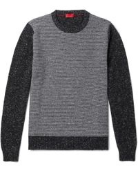 Isaia - Slim-fit Striped Cashmere-blend Sweater - Lyst