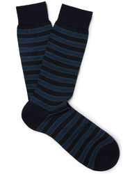 Pantherella - Stanway Striped Merino Wool-blend Socks - Lyst