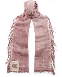 Loewe - Fringed Cotton-blend Gauze Scarf - Lyst