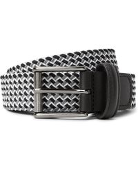 Andersons - 3.5cm Leather-trimmed Woven Elastic Belt - Lyst