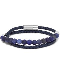 Tateossian - Woven Leather And Sodalite Wrap Bracelet - Lyst