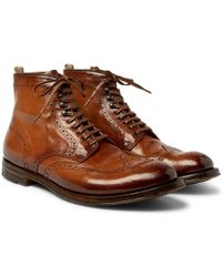 Officine Creative - Anatomia Burnished-leather Brogue Boots - Lyst