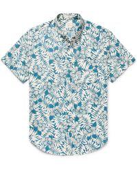 J.Crew | Slim-fit Button-down Collar Floral-print Slub Cotton Shirt | Lyst