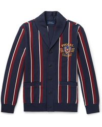 Polo Ralph Lauren - Shawl-collar Embroidered Striped Cotton-blend Jersey Cardigan - Lyst