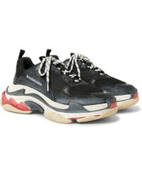 Leather Sneakers And Lyst Nylon Triple Suede S Mesh Balenciaga Bq0RZB8