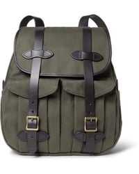 Filson - Leather-trimmed Twill Backpack - Lyst