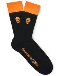 Alexander McQueen - Skull-intarsia Ribbed Cotton-blend Socks - Lyst