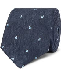 Dunhill - 7cm Paisley-embroidered Herringbone Linen And Mulberry Silk-blend Tie - Lyst
