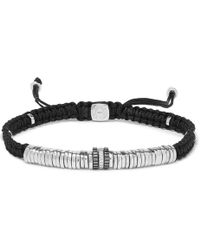 Tateossian - Macramé And Rhodium-plated Sterling Silver Bracelet - Lyst