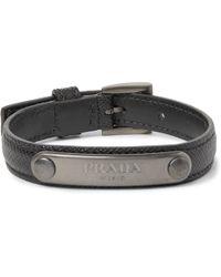 Prada - Saffiano Leather And Gunmetal-tone Id Bracelet - Lyst
