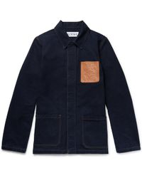 Loewe - Leather-trimmed Denim Chore Jacket - Lyst