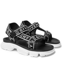 Givenchy - Jaw Logo-jacquard Webbing And Faux Leather Sandals - Lyst