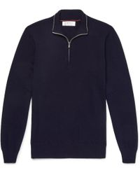 Brunello Cucinelli - Contrast-tipped Cashmere Half-zip Sweater - Lyst