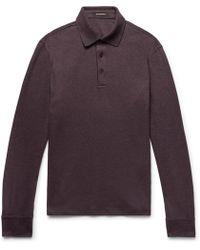 Ermenegildo Zegna - Slim-fit Mélange Cotton-piqué Polo Shirt - Lyst