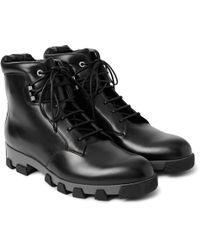 Balenciaga - Lug-sole Leather Lace-up Boots - Lyst