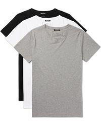 Balmain - Three-pack Slim-fit Distressed Cotton-jersey T-shirts - Lyst