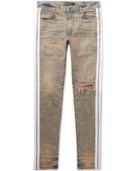 Amiri - Track Stack Skinny-fit Striped Distressed Stretch-denim Jeans - Lyst