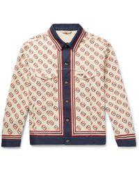 479522f24 Gucci Logo Stripe Cotton-blend Jacket in Black for Men - Lyst