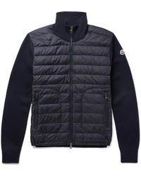 Moncler - Slim-fit Panelled Wool-blend And Quilted Shell Down Jacket - Lyst