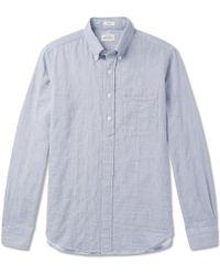 Hartford - Sander Button-down Collar Striped Cotton Half-placket Shirt - Lyst