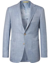 Canali - Light-blue Kei Slim-fit Herringbone Wool, Silk And Linen-blend Blazer - Lyst