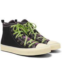 Lanvin - Canvas And Velvet High-top Trainers - Lyst