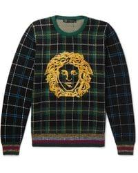 Versace - Logo-embroidered Tartan Wool Sweater - Lyst